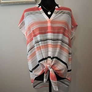 Chico's Striped Tie Front Blouse Sz. 12 -Chico's 2